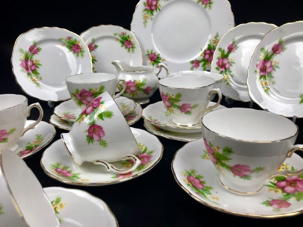 Vintage Afternoon Tea Set For 6 People / Pink and Yellow Flowers / English China